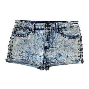 80s studded bleached acid wash denim Jean shorts